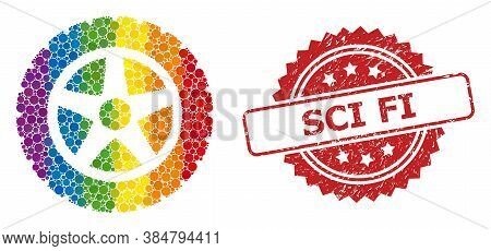 Tire Wheel Mosaic Icon Of Spheric Dots In Variable Sizes And Lgbt Colored Color Tones, And Sci Fi Un