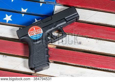 Concept Of Violence At Voting Precincts In Us Presidential Election With Gun And I Secured The Vote