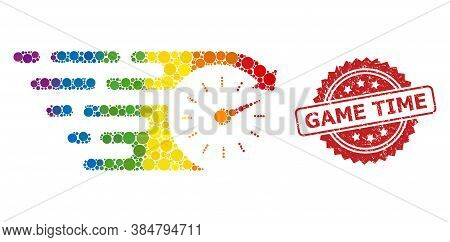Time Collage Icon Of Filled Circle Elements In Different Sizes And Lgbt Colored Color Tinges, And Ga