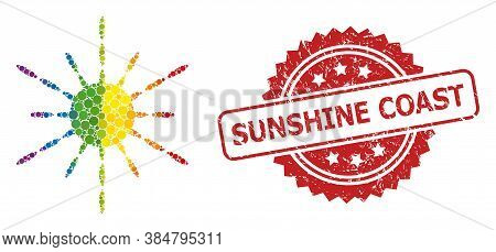 Sun Rays Collage Icon Of Circle Dots In Variable Sizes And Lgbt Colored Shades, And Sunshine Coast U