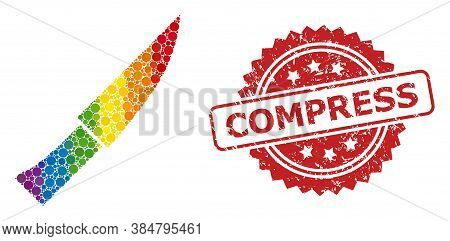 Knife Collage Icon Of Circle Spots In Various Sizes And Lgbt Colored Color Tints, And Compress Corro