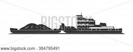Tugboat Pushing Barges. Isolated On Background. Vector Illustration.