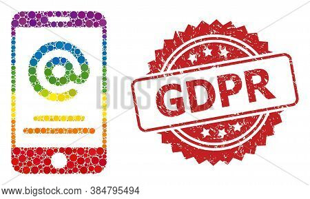 Smartphone Address Info Collage Icon Of Round Elements In Variable Sizes And Lgbt Colored Color Ting