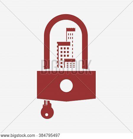 Сoronavirus Lockdown Symbol. Coronavirus Pandemic Puts Countries On Lockdown With Isolated Backgroun