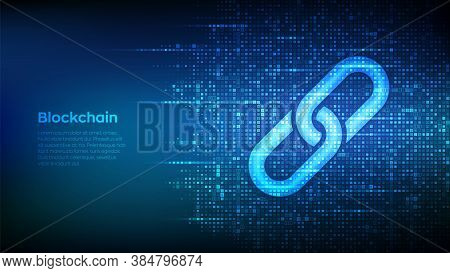 Link Icon Made With Binary Code. Blockchain Technology. Cooperation Symbol. Communication, Security,