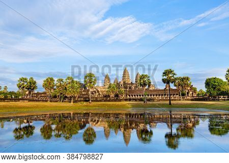 Landscape of Angkor Wat jungle temple in Siem Reap in Cambodia
