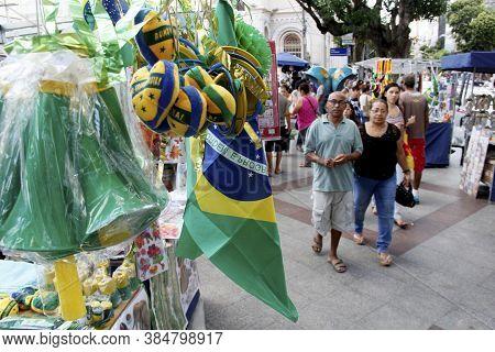 Salvador, Bahia / Brazil - July 8, 2014: Brazilian Flag Is Seen On The Streets Of Salvador During Th