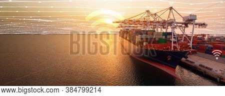 Container Ship In The International Terminal Yard Port At Sunrise , Cargo Ship With Wifi And Line Co