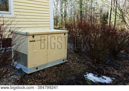 Newbury, Usa - April 4, 2017: Residential Standby Generator