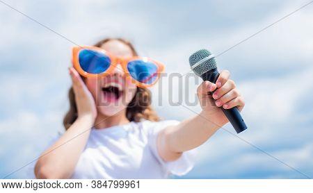 Face The Music Happy Childhood. Happy Girl Enjoy The Moment. Have Fun On Celebration. Teen Kid Singi