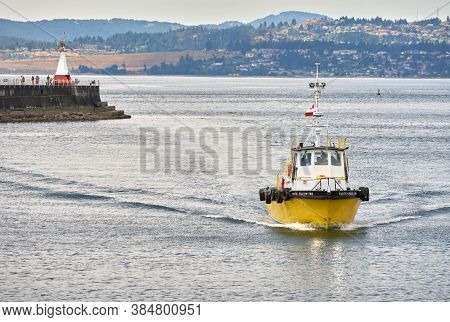 Victoria, British Columbia, Canada - June 27, 2017. Pacific Pilot Boat Returning. A Pacific Pilot Bo