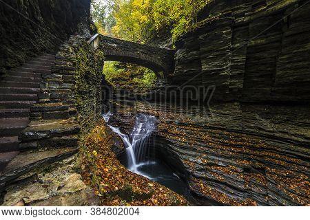 Watkins Glen State Park Is Located Outside The Village Of Watkins Glen, South Of Seneca Lake In Schu