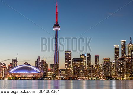 Colored Skyline Of Toronto During Night Time
