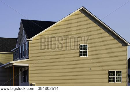 White Vinyl Siding Wall Surface With Horizontal Lines Texture Of Siding Panels Background For Constr
