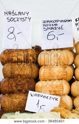 Smoked Cheese Oscypki On The Market In Zakopane Poland
