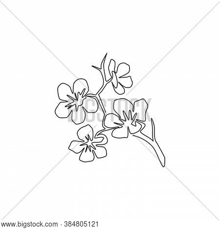 One Single Line Drawing Of Beauty Fresh Cherry Blossom For Home Decor Wall Art Print Poster. Decorat