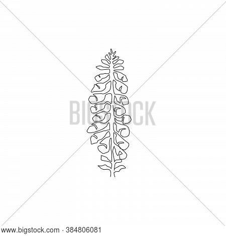 Single One Line Drawing Beauty Fresh Foxglove For Garden Logo. Decorative Digitalis Purpurea Flower
