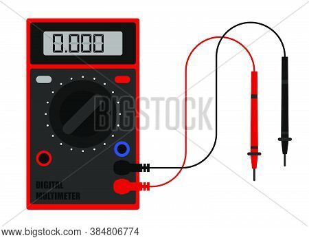 Digital Multimeter In Flat Style, Device For Measuring Current And Voltage In Electrical Circuit. To