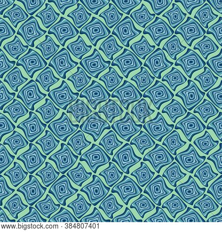 Uplifting Ultra Bright Pastel Mint, Green, Blue, Teal, Turquoise Abstract Geometric Wavy Shapes. Cal