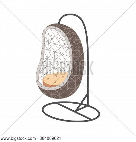 Rattan Cocoon Garden Swing Chair On Frame, Flat Vector Illustration Isolated.