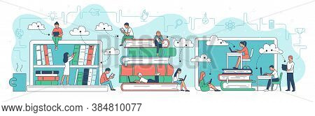 Virtual Online Library Banner Template Cartoon Vector Illustration Isolated.