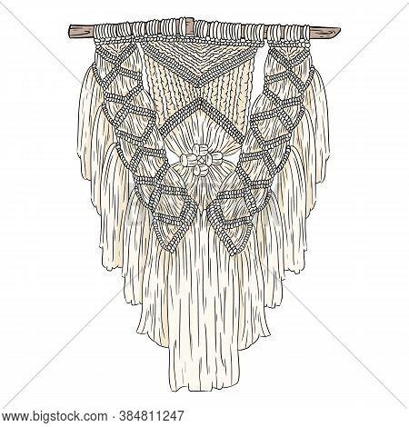 Macrame Bohemian Style Wall Hanger Doodle. Textile Knotting Design Element. Simple Mono Linear Moder