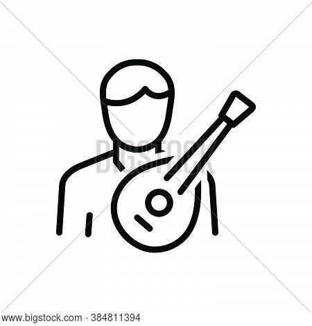 Black Line Icon For Folk Musician Composer Melodist Harp Lute