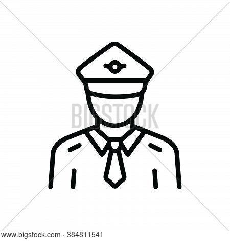 Black Line Icon For Pilot Control Captain Drive Copilot Navigator Airplane Job Man Crew
