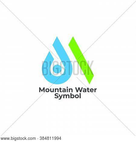 Letter M Natural Drop Water Mountain Symbol Logo Vector