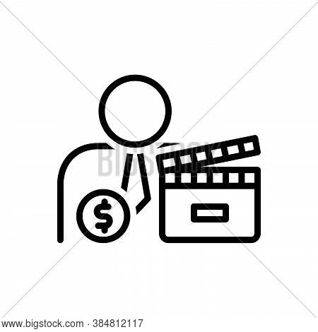 Black Line Icon For Producer Maker Cinematography Entertainment Industry Cinema Movie Filmstrip Dire