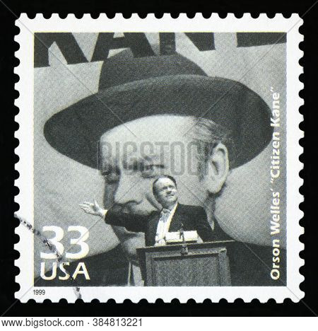 United States - Circa 1999: A Postage Stamp Printed In Usa Showing An Image Of A Citizen Kane Movie,
