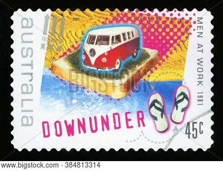 Australia - Circa 2001: A Stamp Printed In Australia Shows The Image For The Song `down Under`, By M