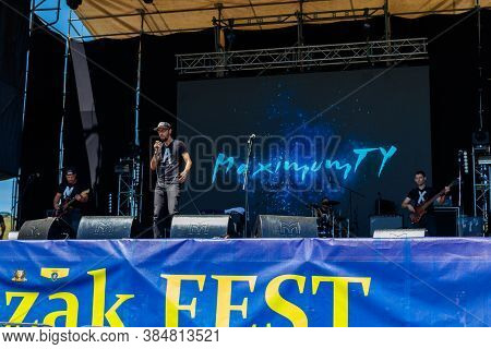 Dnipropetrovsk Region, Ukraine - June 2, 2018: Rock Band Performs On A Stage During Outdoor Free Eth