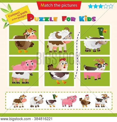 Matching Game For Children. Puzzle For Kids. Farm Animals. Cow, Sheep, Duck Or Drake, Pig, Chicken,