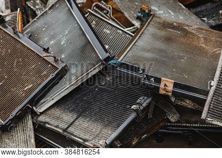 Scrap Metal, Used Car Radiators In A Scrap Yard.
