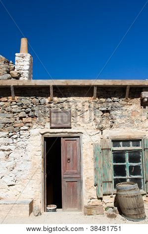 Picturesque Old Mediterranean Style Abandoned Lopsided Rustic Stone Coffee House