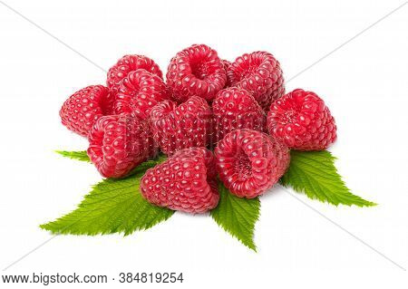 Bunch Of Raspberry Fruits With Leaves Isolated On White Background. Isolated Berries. Full Depth Of