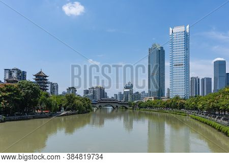 View Of Modern Buildings And Traditional Architecture In Chengdu City Of China