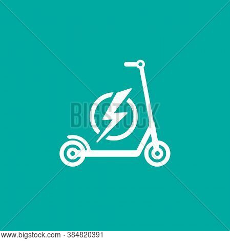 Kick Scooter Or Balance Bike With Lightning Bolt Icon. Flat Push Scooter Isolated On Blue.