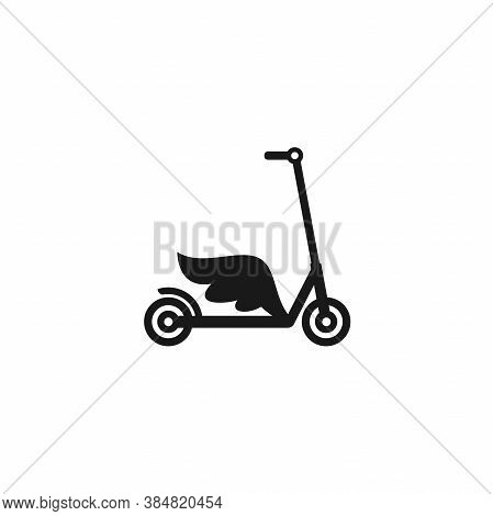 Black Kick Scooter Or Balance Bike With Wing Icon. Flat Push Scooter Isolated On White.