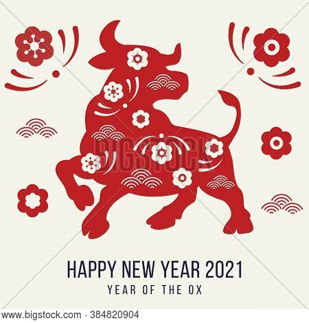 Happy New Year 2021 Festive Banner With Ox. Red Paper Cut Buffalo With Floral Asian Pattern. Greetin