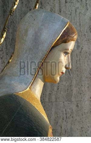 ZAGREB, CROATIA - MAY 19, 2014: Immaculate Conception of the Virgin Mary, statue in the parish church of St. Anthony of Padua in Zagreb, Croatia