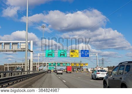 Moscow, Russia, May 22, 2020. Expressway Tollgate, Cars At Gate Toll Payment On Expressway.automatic