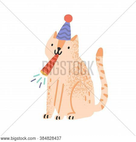 Cute Cat Blow In Festive Whistle Vector Flat Illustration. Funny Domestic Animal In Cone Hat Celebra