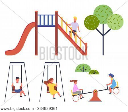Children At Playground. Set Of Vector Illustrations. Boy Up Stairs At Slide, Green Tree. Boy In Cap
