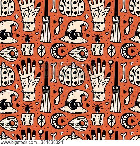 Halloween Seamless Pattern. Holiday Packaging Paper. Pumpkin, Bone, Runes, Crystal, Candle, Tattoo,