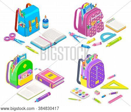 Supplier Isometric, Full School Bag, Book And Pencil In Luggage, Ruler And Scissors. Open Notebook,