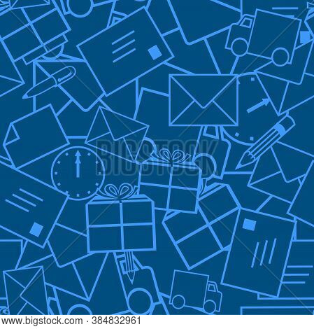 Postal Delivery Icons. Vector. Geometric Seamless Background Blue Texture. Envelopes, Letters, Postc