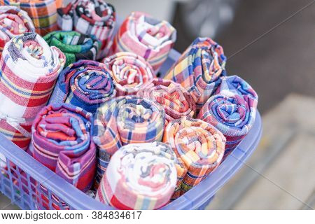 Spool Of Thread Use For Weaving Traditional Thai Cotton.natural Indigo Dye Cotton Fabric Is Weaving