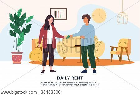 Daily Rent Payment Concept In Cash With Money Changing Hands Between Tenant And Landlord, Colored Ve